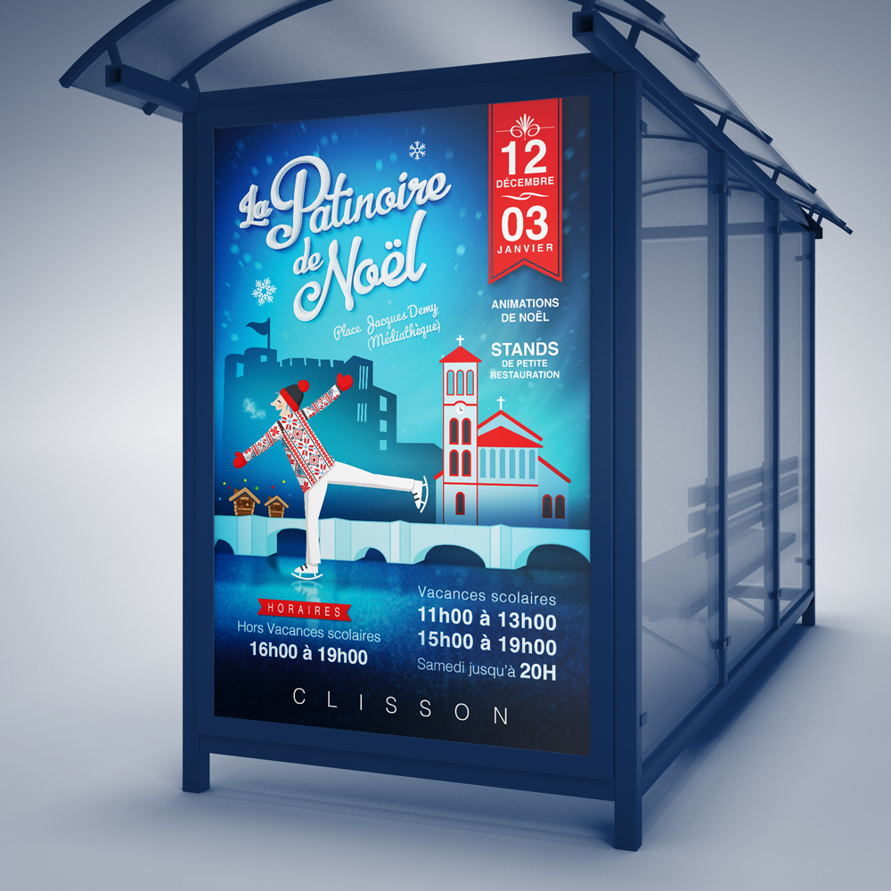 Proposition d'une affiche déclinable en flyer pour l'évenement de Noël de la Ville de Clisson (44)